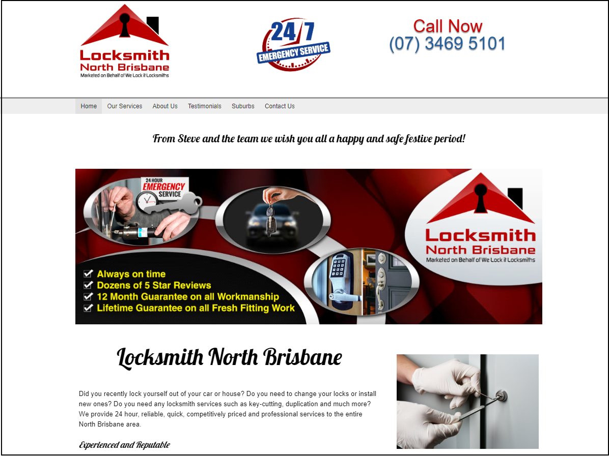 Locksmith North Brisbane - Website Screenshot